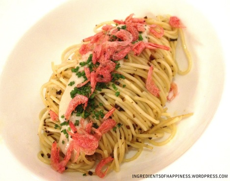 The Angel Hair Pasta With Sherry Minced Pork and Sakura Ebi for only $3.90