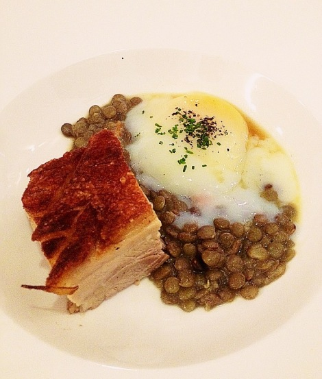 Crispy Pork Belly with Poached Egg and Lentils