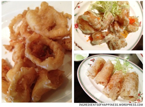 Yummy fried stuff (clockwise from left): Fried Calamari, Wasabi Prawns, and Crispy Netted Rice Turnover with Prawn, Apple and Mango