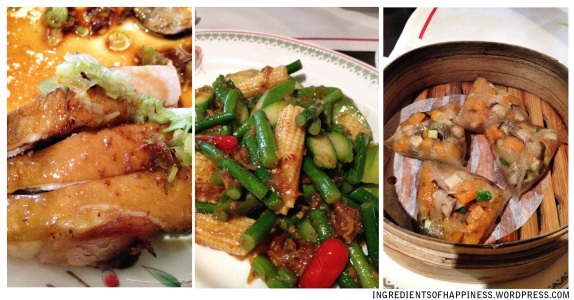From left, the Soya Sauce Chicken, Stir Fried Asparagus and Corn in XO Sauce, and the Crystal Dumplings
