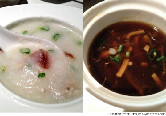 Lean Meat and Century Egg Porridge and Hot and Sour Soup