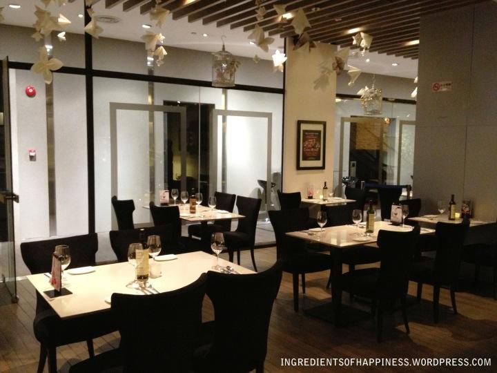 Inside the restaurant - quiet on a Thursday night