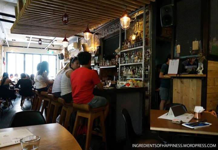 Inside the small, cosy cafe