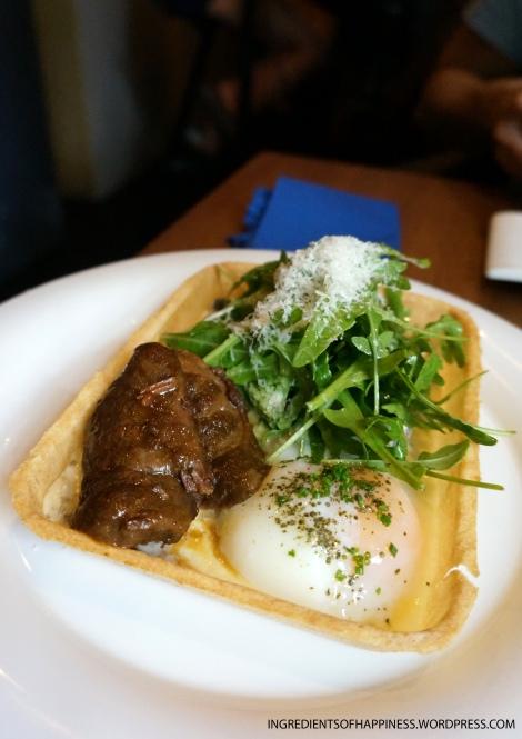 The tender and creamy pork cheek confit flan dish