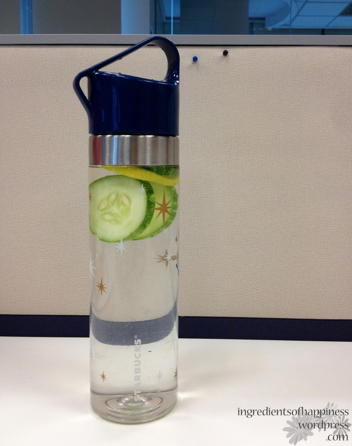 I even put the cucumbers and lemon in my water bottle haha :)