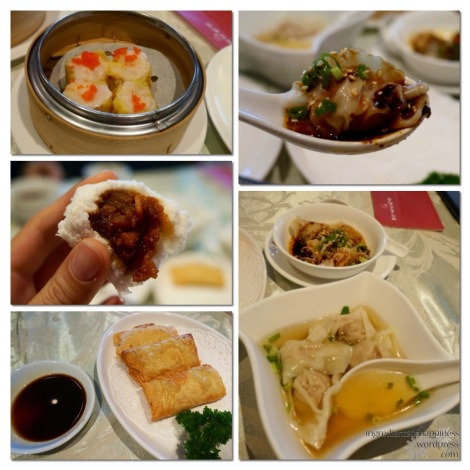 Clockwise from top left corner - Siew Mai, Dumpling with Spicy Sauce, Dumplings in Soup, Fried Beancurd Skin Roll and Char Siew Bao