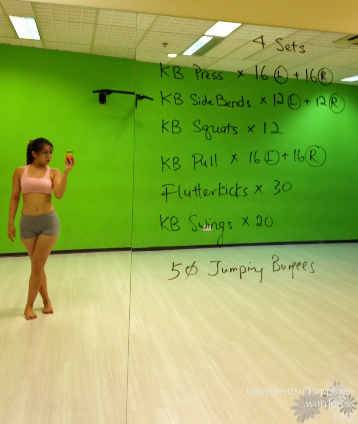 This week's class - did the 4 sets in half an hour (slow compared to the others in the class actually), with 6-8kg, 6kg, 12kg, 8kg and 8kg kettlebells for the exercises
