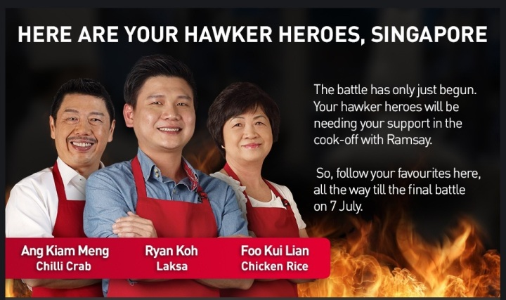 The Top 3 Hawker Heroes! Will they defeat Ramsay? (Picture taken from SingTel website)