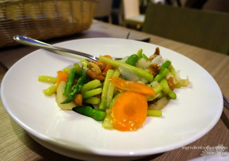 Delicious and light stir fried asparagus, carrots, snap peas and chestnuts
