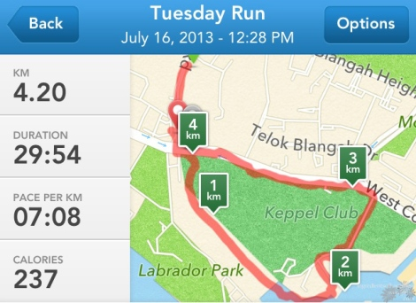 The route I ran this week - through Labrador Park and out to the main road from Keppel Club