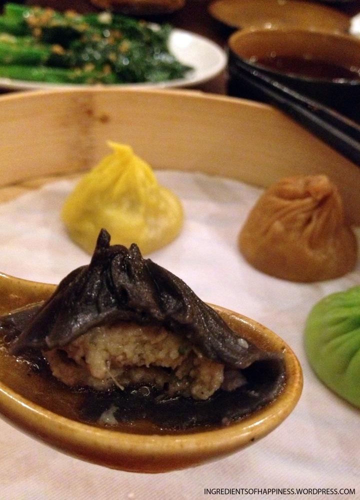Close up of the Black Truffles Xiao Long Bao