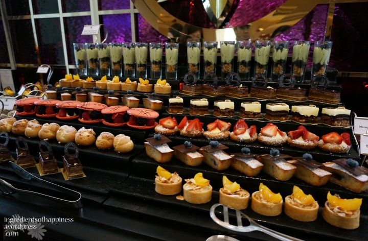 Part of the Brasserie Les Saveurs high tea dessert offerings
