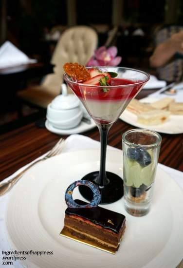 Two of the nicest desserts at this high tea, the panna cotta and green tea mousse