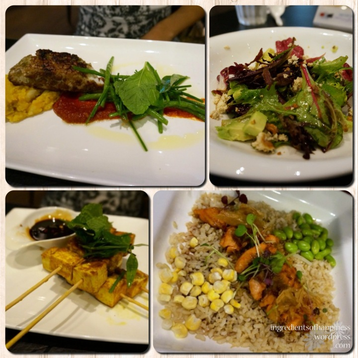 Appetizers and mains at Onaka: (clockwise from top left) Pumpkin Seabass, Tofu Avocado Salad, Salmon with Brown Rice and Soy Melange