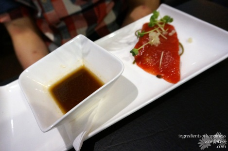 One of the dishes they are known for, the Watermelon Sashimi