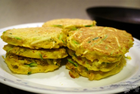 My home made zucchini egg oat pancakes