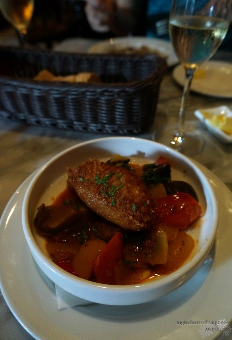 My starter of cod brandade with ratatouille