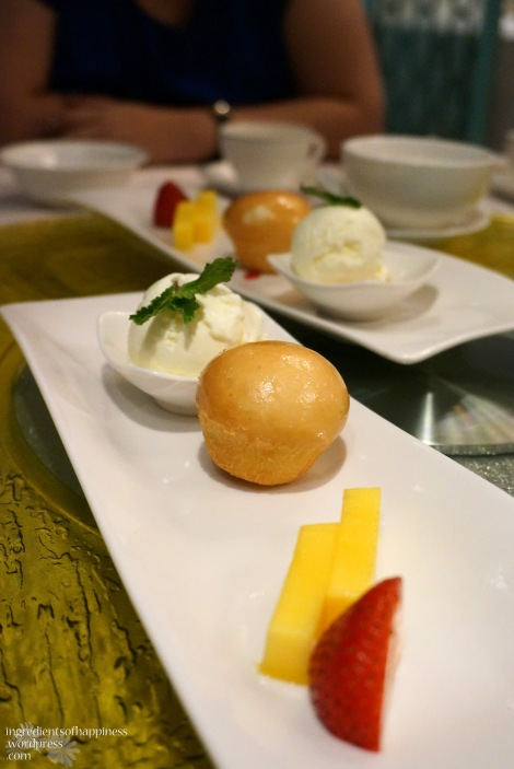 Deep fried Custard Bun with ice cream and fruits, yums