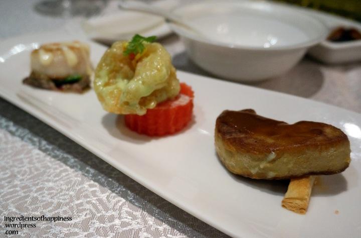 Trio of Pan Seared Scallop, Wasabi Prawn and Foie Gras