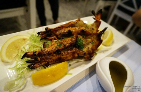 The yummy grilled jumbo prawns!