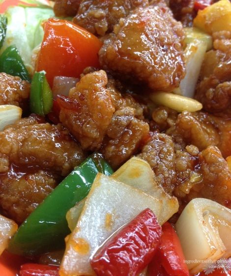 The well executed and happy looking sweet and sour pork dish