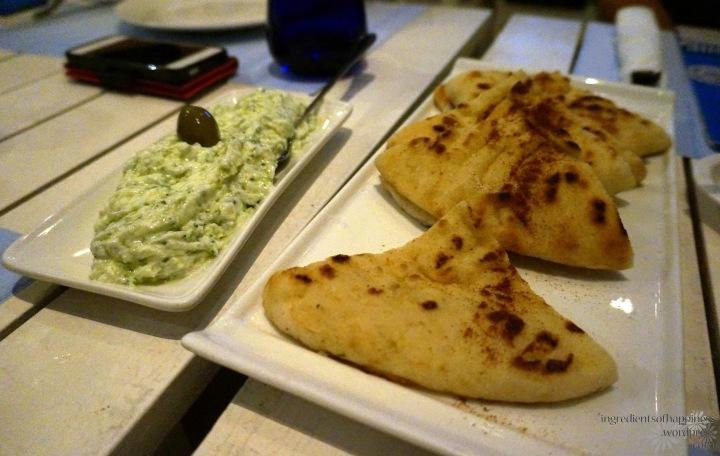 Tasty tzatziki dip and pita bread