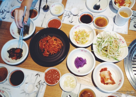 A nice array of Korean side dishes