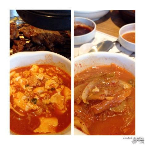 Seafood tofu soup + Kimchi soup