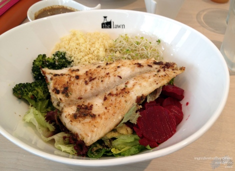 The Grilled Dory option with various vegetables and couscous