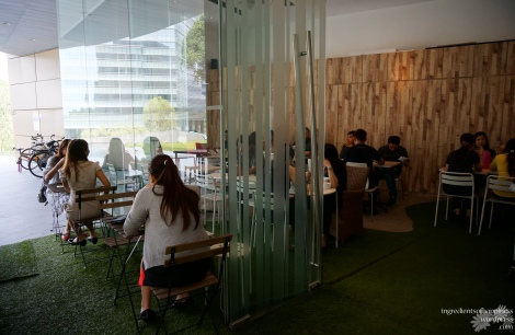 One of the seating areas, complete with turf grass