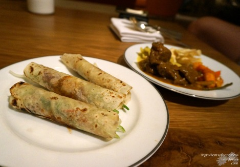 Hot selection - peking duck rolls, mutton curry, achar and lontong