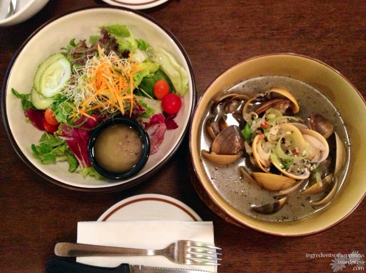 Pretending to be healthy and pairing the clam stew with a side salad