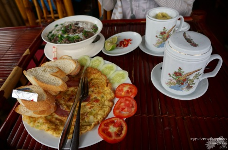 Our first breakfast in Sapa - sustenance for the morning hike to come