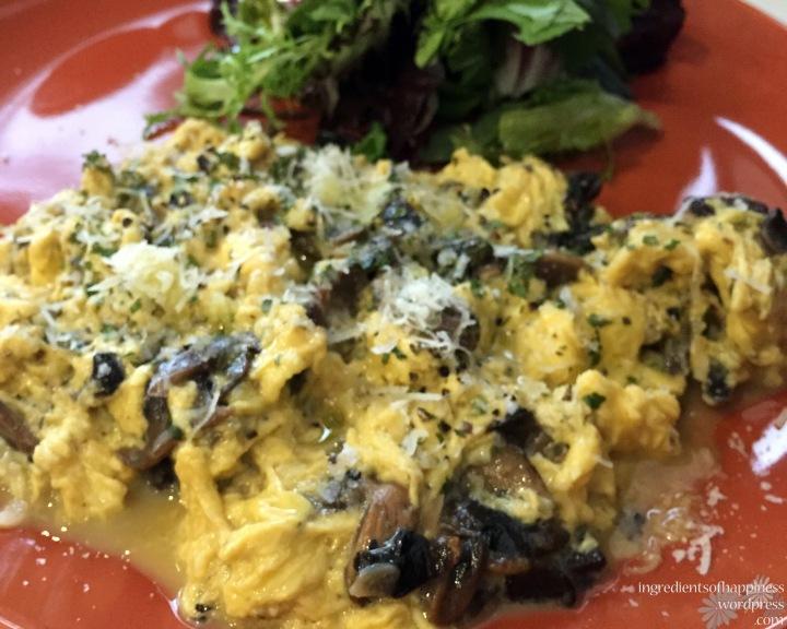 The beautiful truffled scrambled eggs dish