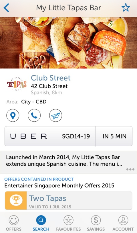 You can redeem various monthly offers or vouchers for the year in-app, and even call an Uber taxi on the same page