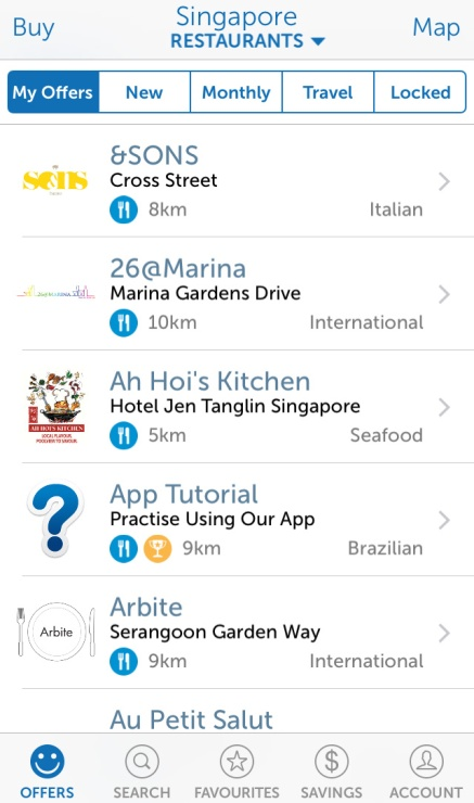 A screenshot of the home screen where you can see your list of offers and places
