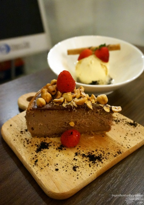 Nutella cheesecake with sea salt caramel ice cream