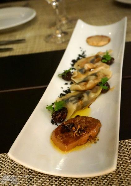 The beautiful foie gras ravioli dish